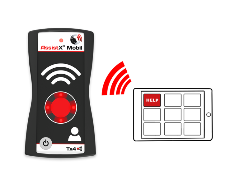 AssistX Mobil mit Tablet-Illustration